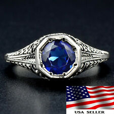 1CT Blue Sapphire 925 Solid Sterling Silver Victorian Style Filigree Ring Sz 7
