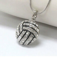 Precision Crystal Volleyball Ball Sports Snake Chain Necklace 46cm