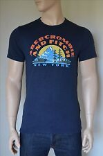 NEW Abercrombie & Fitch Print Logo Graphic Tee Navy Blue T-Shirt S