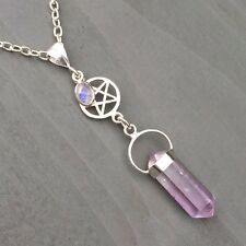 925 Sterling Silver pentagram, AAA Amethyst Point & Rainbow Moonstone Pendant