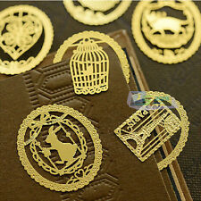 6 Pcs /Set Heart Key Cage Mini Reading Gold Metal Clip Bookmark Gift Book Mark