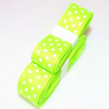 "Fluorescent colors 3yds 5/8""(15 mm) Ribbon Printed lovely Dots Grosgrain"