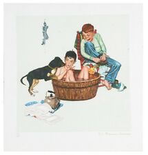 """Lickin' Good Bath"" by Norman Rockwell Lithograph on Arches Paper Ettinger Inc."