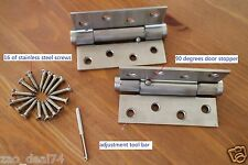 """Spring Door Hinge 4"""", self closing with 90 degrees stopper, square corner,2 pack"""