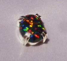 1.10 CT FIERY OVAL BLACK OPAL MENS SILVER TIE TACK PIN LAB GROWN NR