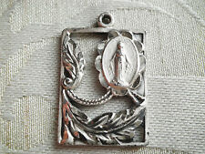 Vintage Sterling Cut Out Floral Virgin Mary Religious Miraculous Medal Pendant