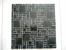 Crystal glass mosaic tiles - Kitchen splash back/Bathroom feature walls - black