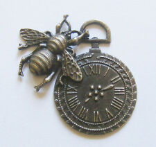 1 Large Metal Steampunk Antique Bronze Bee Clock Charm/Pendant - 42mm