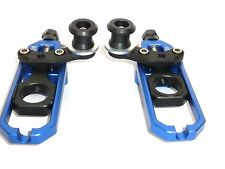 HONDA CBR600RR 2005-2013 CNC CHAIN ADJUSTER WITH PADDOCK BOBBIN BLUE BLACK   X12