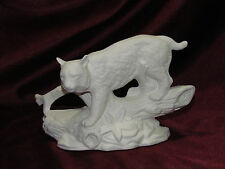 Ceramic Bisque Bob Cat on a Log and Rock base U-Paint Ready to Paint Bobcat