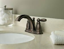 Two Handle Low Arc Bathroom Faucet w/ Drain Assembly Oil Bronze Moen Brantford
