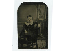 ANTIQUE TINTYPE PORTRAIT OF HAPPY YOUNG CHILD, POSING STOOL   PAINTED BACKDROP