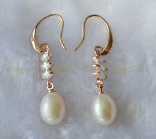Fine AAA Real Natural South Sea Pearl charming Drop Earrings 18K gold on silver