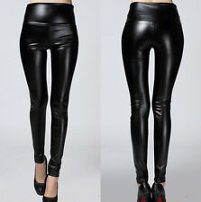 Sexy Women Black Faux Leather Stretchy Leggings Pencil Pants Trousers Free Size