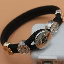 HOT mini  leather bracelets drill fit for noosa snaps chunk charm button A圆黑
