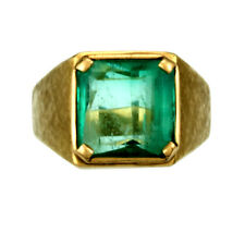 Substantial 14K Gold 7CT Emerald Man's Ring Size 11.25