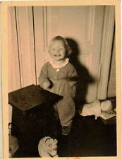 Vintage Antique Photograph Adorable Little Baby Standing By Table and Toys