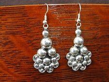 Bead Bubble Look Dangle Mexico Sterling Silver 925 Pierced Earrings