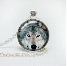 WOLF Cabochon Tibetan silver glass catena ciondolo collana