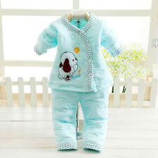 2pc Newborn Baby Girl boy Clothes Winter Warm Blue Outfits & Sets Dog 0-3M