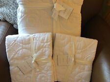 POTTERY BARN Washed Cotton KING Quilt & 2 KING Shams NEW - WHITE