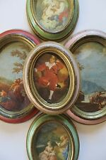 Vintage Lot of 4 Oval Shabby Chic Victorian Era Pictures Italy