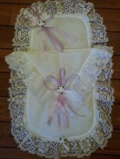 Frilly White / Lilac Dolls Pram Set Hand Decorated with Lace/Satin