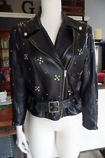 POSITANO PELLE SOFT LEATHER JACKET MOTORCYCLE BLACK ZIPPER GOLD STUDS S