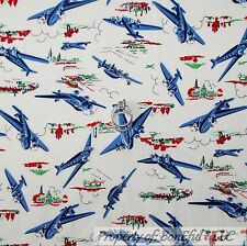 BonEful Fabric FQ Cotton Quilt VTG White Red Blue Airplane Boy Jet Scenic Earth