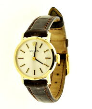 LADIES-VINTAGE-ROLEX-14K-YELLOW-GOLD  WRIST WATCH LEATHER BAND