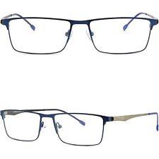Lichte Herren Damen Brille Eckig Brillengestell Titan Metall Brillenfassung Blau