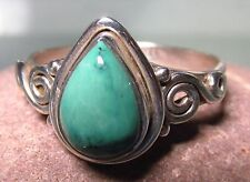 Sterling silver everyday natural turquoise stone ring UK Q½-¾/US 8.75-9.