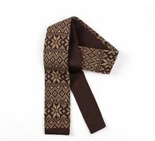 Mens Knitted Winter Tie - Coffee Brown Fair Isle Skinny - Slim Knit
