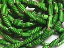 "Green 4-Layer Watermelon Chevron African Trade Beads, Approx. 21"" Strd/42 beads"