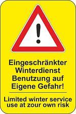 10 Aufkleber kein Winterdienst Tiefgarage Skilift Parkhaus Durchfahrt Tür Tor