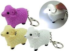 Lamb Sheep Key Chain Ring with LED Light and Animal Sound Lovely Keychains