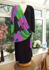 "VINTAGE ""FRANK USHER"" BLACK CREPE DRESS WITH MULTI-COLOURED SASH Sz 40 UK 14"