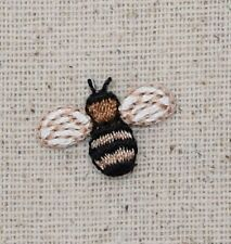 Iron On Embroidered Applique Patch - Mini Bumble Bee Brown/Black Yellowjacket