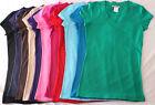 Womens S M L XL 1X 2X 3X Casual Basic Plain Cotton V~Neck Stretch Top Tee Shirt