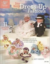 """Itty Bitty Dress-Up Fashions Crochet Pattern 5"""" Doll Outfits Annie's Attic NEW"""