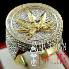 MENS REAL GENUINE DIAMOND MARIJUANA LEAF PLANT PINKY BAND RING 10K GOLD FINISH
