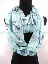 US SELLER- nautical anchor infinity scarf infinity women's fashion scarf