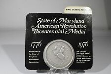 RARE 1976 1oz 999 Silver State of Maryland Bicentennial American Revolution Coin