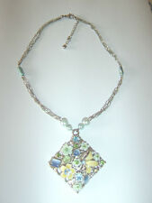 Vintage Pastel Enamel Stone Flower Butterfly Pendant Chain Necklace Wedding