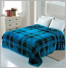 Solaron Korean Blanket throw Mink silky soft King Size Plush Blue new