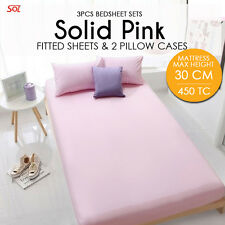 SOL Bedsheet Set. Solid Pink King. 1 Fitted Sheet+2 Pillow Case. Max height-30cm