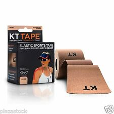 KT Tape Original Cotton Kinesiology Tape - 1 Roll of 20 Precut Strips - Beige