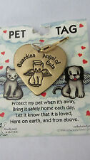Cat Guardian Angel Pet Tag Gold Toned Attaches To Collar