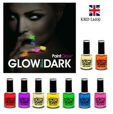 6 x Genuine PaintGlow GLOW IN THE DARK Nail Varnish Set Bright Neon Halloween UK