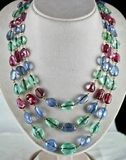ESTATE REAL ANTIQUE OLD MINES EMERALD BLUE SAPPHIRE SPINEL TUMBLE BEADS NECKLACE